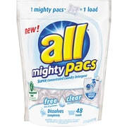 all® HE Mighty Pacs™ 4X Concentrated Laundry Detergent Pacs, Free & Clear, 48 Ct.