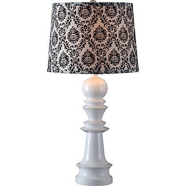 Kenroy Gambit Table Lamp w/ White Finish and 15in. Black & White Patterned Drum Shade