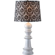 "Kenroy Gambit Table Lamp w/ White Finish and 15"" Black & White Patterned Drum Shade"