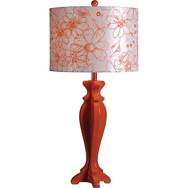 Kenroy Profile Table Lamp in Tangerine Finish w/ White & Orange Floral Shade