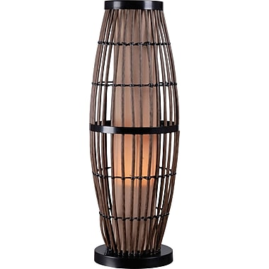 Kenroy Biscayne Outdoor Table Lamp w/ Rattan Finish & 5in. Tan Textured Shade