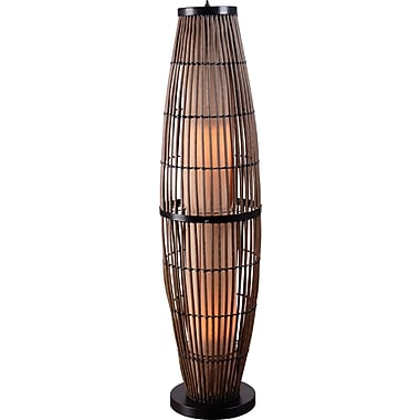 Kenroy Biscayne Outdoor Floor Lamp w/ Rattan finish & 7in. Tan Textured Shade