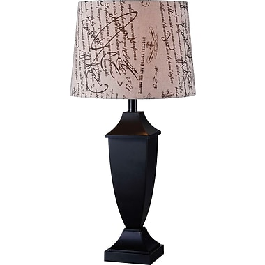 Kenroy Bauer Table Lamp w/ Black Finish & 15in. French Print Drum Shade