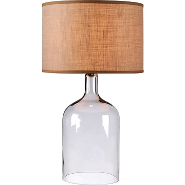 Kenroy Capri Table Lamp w/ Clear Glass Finish & 17in. Burlap Drum Shade