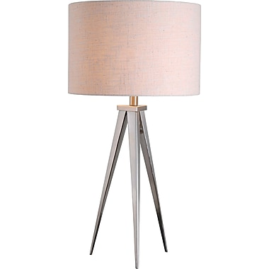 Kenroy Foster Table Lamp w/ Brushed Steel Finish & 15in. White Textured Drum Shade