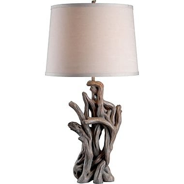 Kenroy Cast Away Table Lamp w/ Driftwood Finish & 15in. Cream Drum Shade
