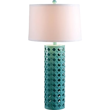 Kenroy Marrakesh Table Lamp w/ Teal Finish & 15in. White Tapered Drum Shade