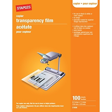 Staples 100 Pack Transparency Copy Film
