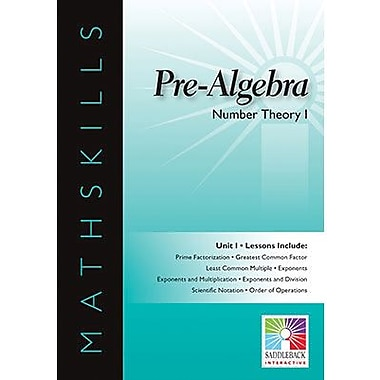Saddleback Educational Publishing® Math Skills; Number Theory 1, Pre-Algebra, IWB, grades 6 -12