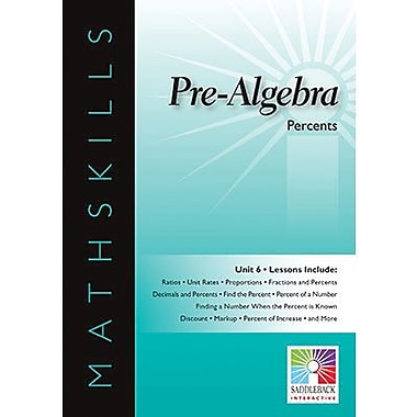 Saddleback Educational Publishing® Math Skills; Percents, IWB, Pre-Algebra, Grades 6 -12