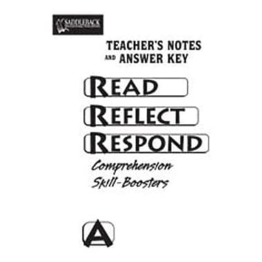 Saddleback Educational Publishing® Read Reflect Respond Book A; Answer Key, CD, Grades 5-12
