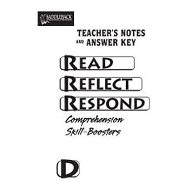 Saddleback Educational Publishing® Read Reflect Respond Book D; Answer Key, CD, Grades 5-12