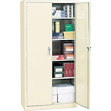 Alera® Assembled Storage Cabinet with Adjustable Shelves, Putty, 72in. H x 36in. W x 18in. D