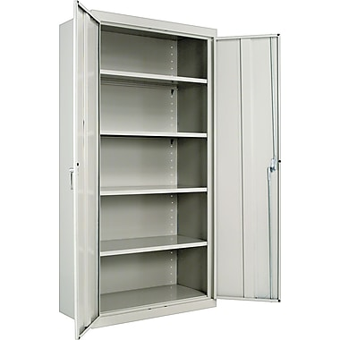 Alera® Assembled Storage Cabinet with Adjustable Shelves, Light Gray, 72in. H x 36in. W x 18in. D