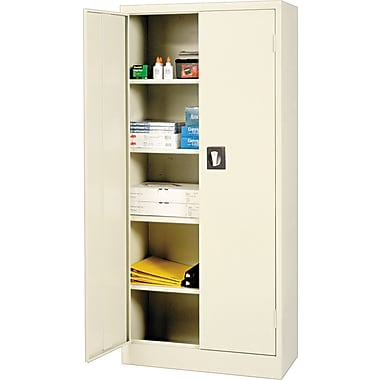 Alera® Space Saver Storage Cabinet with Fixed Shelves, Putty, 66in. H x 30in. W x 15in. D