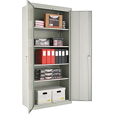 Alera® Assembled Storage Cabinet with Adjustable Shelves, Light Gray, 78in. H x 36in. W x 18in. D