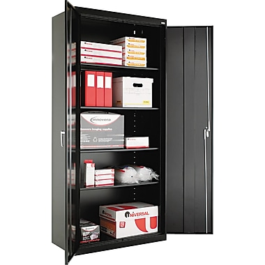 Alera® Assembled Storage Cabinet with Adjustable Shelves, Black, 78in. H x 36in. W x 18in. D