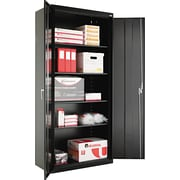 Alera® Assembled Storage Cabinet with Adjustable Shelves, Black, 78 H x 36 W x 18 D
