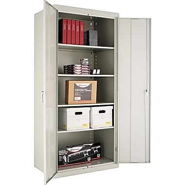 Alera® Assembled Storage Cabinet with Adjustable Shelves, Light Gray, 78in. H x 36in. W x 24in. D