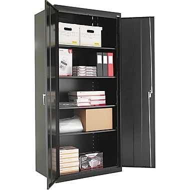 Alera® Assembled Storage Cabinet with Adjustable Shelves, Black, 78in. H x 36in. W x 24in. D