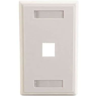 C2G® 03410 Single Gang Multimedia Keystone Wall Plate, White, 1-Port