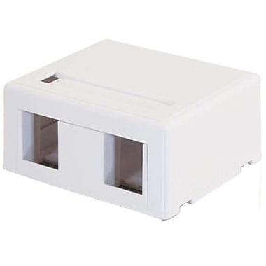 C2G® 03833 Keystone Jack Surface Mount Box, White, 2-Port