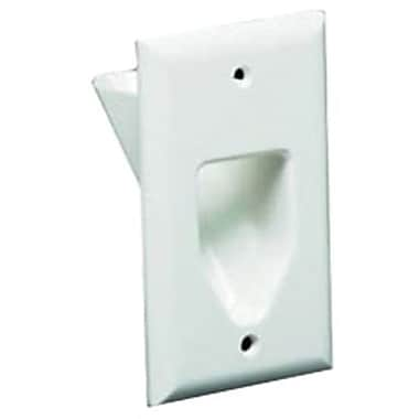 Datacomm™ 45-0001 Single Gang Recessed Low Voltage Cable Plate, White