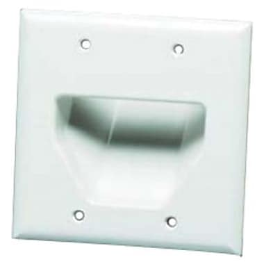 Datacomm™ 45-0002 2 Gang Recessed Low Voltage Cable Plate, White