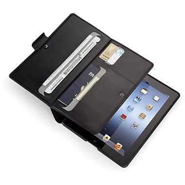 Spare Products WanderFolio Luxe Leather Folio For iPad 3, iPad 4th Generation, Black/Gunmetal Gray