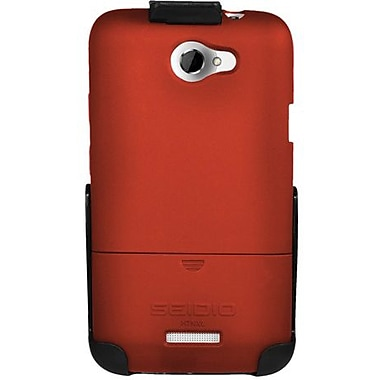Seidio® Surface™ BD2-HR3HTNXL Hard Case and Holster For HTC One X (AT&T LTE), Garnet Red