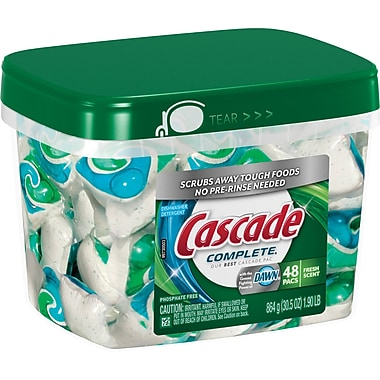 Cascade Complete All-in-1 Action Pacs Dishwasher Detergent, Fresh Scent, 48/Pack