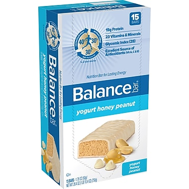 Balance Bars Yogurt Honey Peanut, 1.76 oz. Bars, 15 Bars/Box