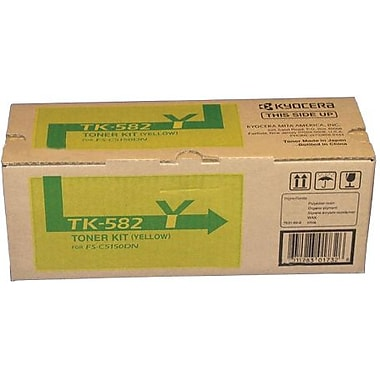 Kyocera Mita TK-582Y Yellow Toner Cartridge (1T02KTAUS0), High Yield