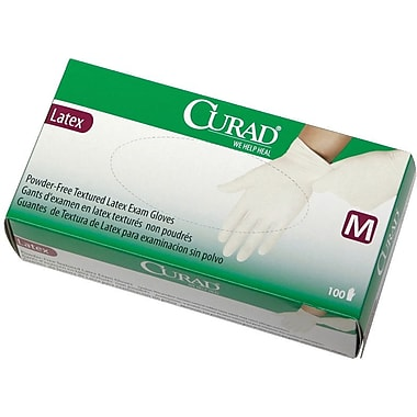 Curad® Powder-free Latex Exam Gloves, Beige, Medium, 9in. L, 100/Box