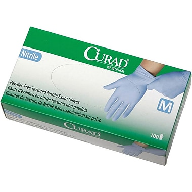 Curad® Powder-free Latex-free Nitrile Exam Gloves, Blue, Medium, 9