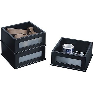 Victor® Wood Desk Accessories, Mini Stacking Bin, Three Pack, Midnight Black