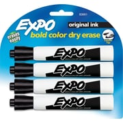 Expo® Chisel Tip Dry-Erase Markers, Chisel Tip, Black, 4/Pack