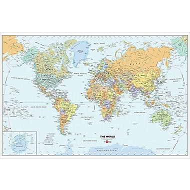 WallPops World, 3' x 2', Film Dry-Erase Map (WPE99074-S)
