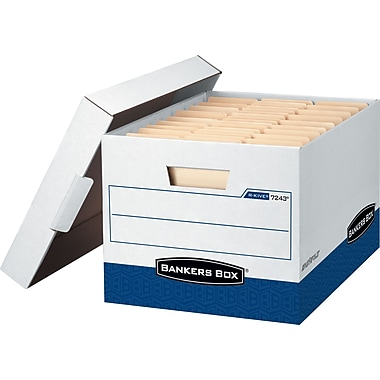 Bankers Box R-KIVE Heavy Duty Storage Box, White/Blue, 12/Pack
