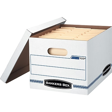 Bankers Box Basic-Strength Stor/File Storage Boxes, 4/Pack