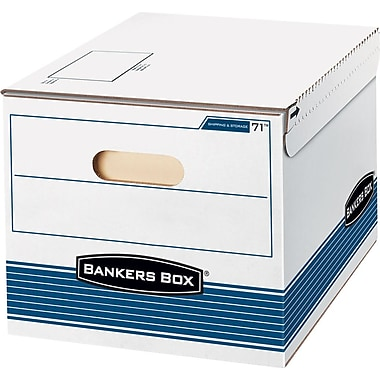 Bankers Box Shipping and Storage Boxes, Letter/Legal, Stacking Strength 500 lb., White/Blue,, 10