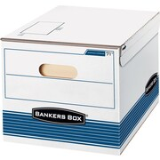 "Bankers Box Shipping and Storage Boxes, Letter/Legal, Stacking Strength 500 lb., White/Blue,, 10""Hx12""Wx15""D,12/Ct"