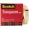 Scotch® Transparent Tape 600, 3/4in. x 72 yds, 3in. Core