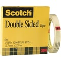 Scotch® Double Sided Tape 665, 1/2in. x 36 yds, 3in. Core
