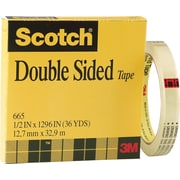 "Scotch® Double Sided Tape 665, 1/2"" x 36 yds, 3"" Core"