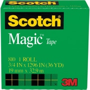 "Scotch® Magic™ Tape 810, 3/4"" x 36 yds, 1"" Core"