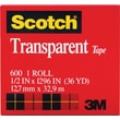 Scotch® Transparent Tape 600, 1/2in. x 36 yds, 1in. Core
