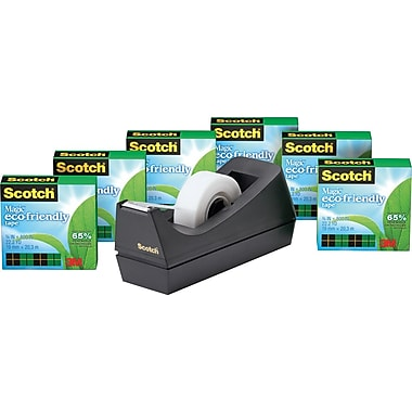 Scotch® Magic™ Greener Tape 812 with C38 Dispenser, 3/4in. x 900in. Tape, 1in. Core, 6/Pack