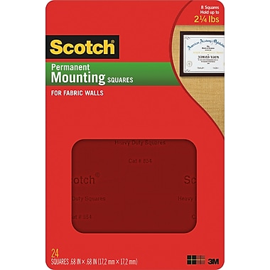 Scotch® Permanent Mounting Squares for Fabric Walls, .68in. x .68in., 35/Pack
