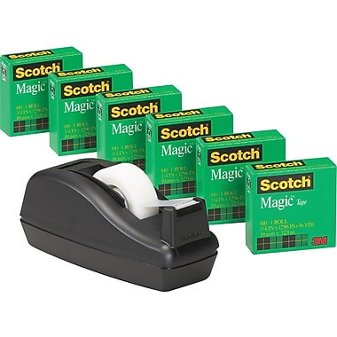 Scotch® Magic™ Tape 810 Value Pack with C40 Dispenser, 3/4in. x 1000in., 1in. Core, 6/Pack